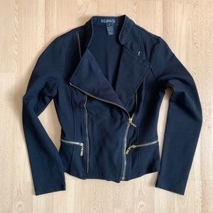 Black Moto Jacket with Gold Zippers
